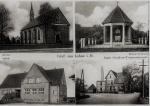 15  Gruß aus Lohne i. H. -Kirche, Kriegerdenkmal, Schule, Molkerei mit Mühle